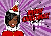 African american black star girl. Woman pop art greeting Merry Christmas and New Year. Vintage popart poster. Wow face kitsch vector illustration. Speech bubble. Comics book text radial background. poster