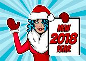 Young retro cartoon girl say Ner Year. Woman pop art greeting  Merry Christmas. Vintage popart poster. Wow face kitsch vector illustration. Speech bubble. Comics book text radial background. poster