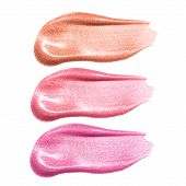 Set of different lip glosses smear samples isolated on white. Smudged makeup product sample poster