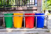 Recycle reuse reduce. Colourful recycle bins. Mother nature poster