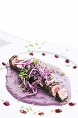 Modern fusion gourmet food cuisine seared tuna fish meal with beetroot sauce poster