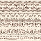 Hand-Drawn Henna Mehndi Tattoo Flower and Paisley Border Doodle Vector Illustration Design Elements poster