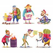 Beggars, homeless, tramps, hobo, funny vector cartoon set isolated on white background. Hobo with shopping cart, beggar on the street, homeless man warms himself by the fire, bum with crutch poster