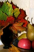 Autumn still-life from apples pears maple leaves poster