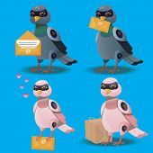 Flying bird with postal envelope. Robot pigeon with mail or emale. Pigeonbot poster