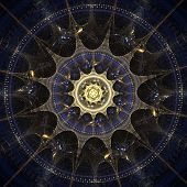 Blue spike layered mandala fractal abstract design. poster