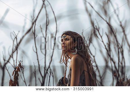 Beautiful Young Boho Style Woman Outdoors Portrait