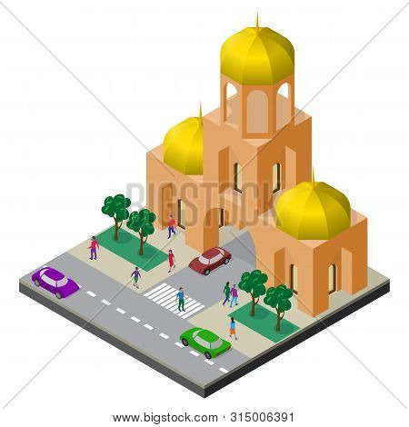Temple, Roadway, Trees, Cars And People. Cityscape In Isometric View.