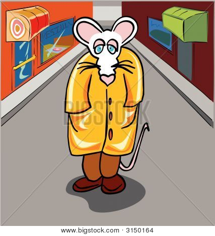 Lonely mouse walking in a street on a gray day poster