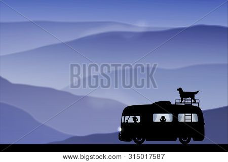 Cartoon Retro Car On Road At Dusk. Vector Illustration With Silhouettes Of People And Dog Traveling