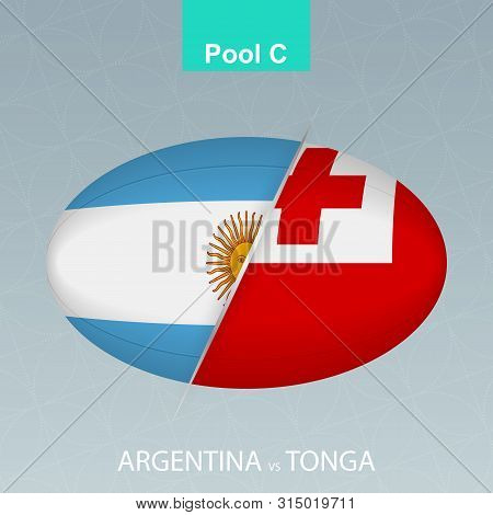 Rugby Competition Argentina Vs Tonga. Rugby Icon On Gray Background. Vector Illustration.