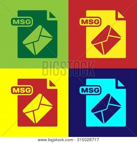 Color Msg File Document. Download Msg Button Icon Isolated On Color Background. Msg File Symbol. Vec