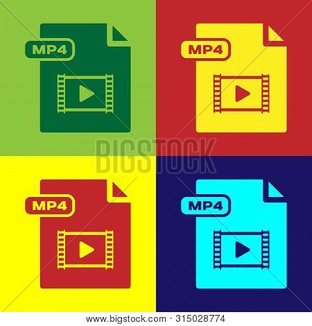 Color Mp4 File Document. Download Mp4 Button Icon Isolated On Color Background. Mp4 File Symbol. Vec