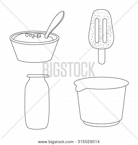 Vector Illustration Of Calcium And Food Sign. Collection Of Calcium And Product Stock Symbol For Web