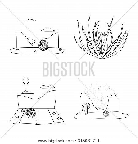 Vector Illustration Of Wilderness And Texas Sign. Set Of Wilderness And Pasture Stock Vector Illustr