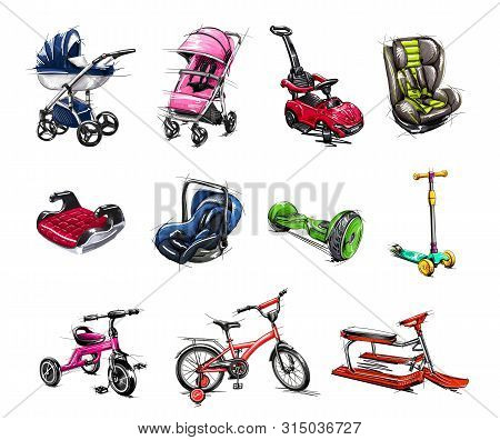 Set Of Transport For Children: Baby Carriage, Pushchair, Car Seat,