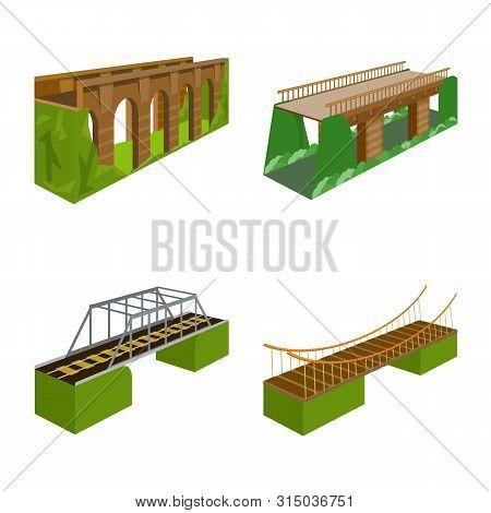 Vector Design Of Bridgework And Architecture Logo. Collection Of Bridgework And Structure Stock Symb