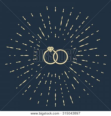 Beige Wedding Rings Icon Isolated On Dark Blue Background. Bride And Groom Jewelery Sign. Marriage I