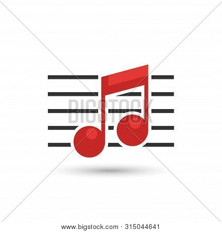 Musical Notes Logo Isolated On White Background, Music Logo For Music Collection. Musical Notes Icon