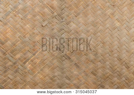 Traditional Handcraft Weave Thai Style Pattern Nature. Texture Bamboo Surface For Furniture Material