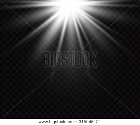 poster of white glowing light burst explosion on transparent background. Vector illustration light effect decoration with ray. Bright star. Translucent shine sun, bright flare. Center vibrant flash