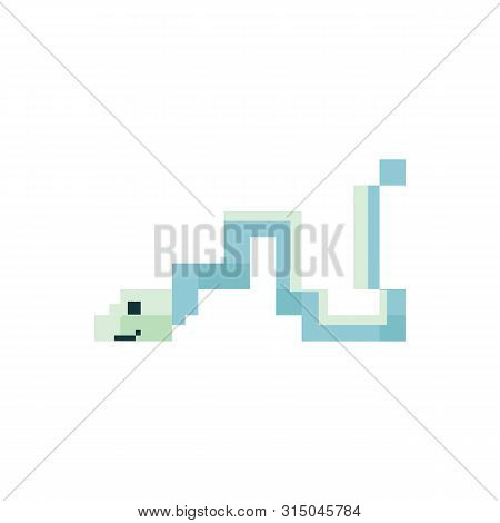 Cute Neo Mint Green 8 Bit Ribbon Eel Vector Illustration. Sealife Pixel Clipart.