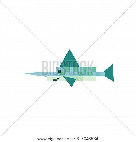 Cute Neo Mint Green 8 Bit Swordfish Vector Illustration. Sealife Pixel Clipart.