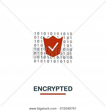 Encrypted Icon. Creative Two Colors Design From Crypto Currency Icons Collection. Simple Pictogram E