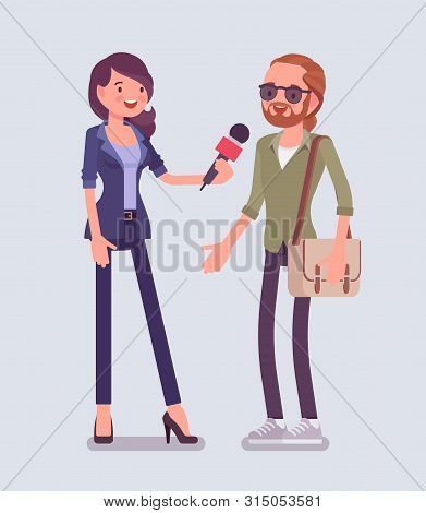 Female Tv Reporter Interviewing Questions. Woman Holding An Interview With Man, Professional Journal