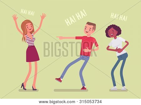 Friends Joking And Laughing. Happy Girls And Young Boy Enjoy Together Funny Friendly Jokes, Enjoymen
