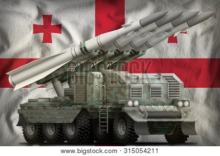 Tactical Short Range Ballistic Missile With Arctic Camouflage On The Georgia Flag Background. 3d Ill
