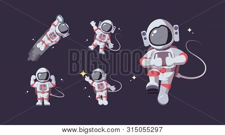 Set Of Astronaut In Various Poses In Outer Space. Spaceman Exploration Galaxy. Astronomy, Star Missi
