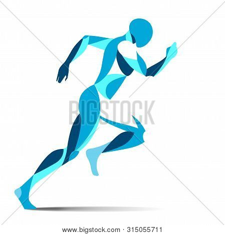 Modern Stylised Blue Running Male Athlete In Full Stride Sprinting For Speed During A Training Worko