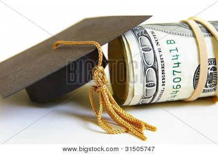 graduation cap and cash