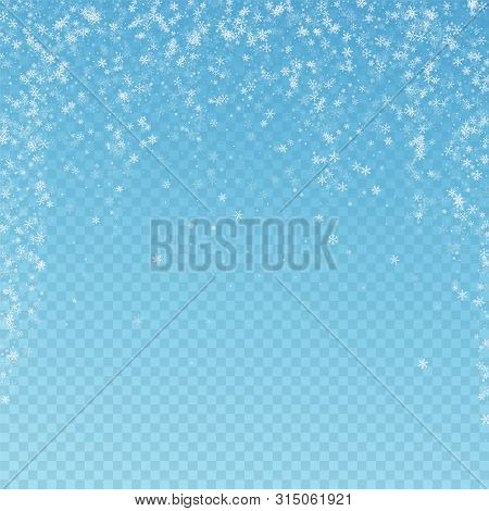 Beautiful Snowfall Christmas Background. Subtle Flying Snow Flakes And Stars On Blue Transparent Bac