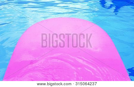 Pink Foam Board For The Teaching Of Swimming Beside Swimming Pool,swimming Lessons For Children Heal