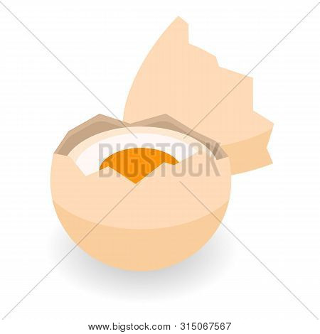 Half of eggshell icon. Isometric of half of eggshell icon for web design isolated on white background poster
