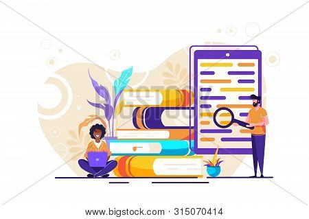 library of encyclopedia, e-learning, media library or web archive Concept for web page, banner, presentation, social media. Vector illustration Technology and literature, Dictionary, team work. poster