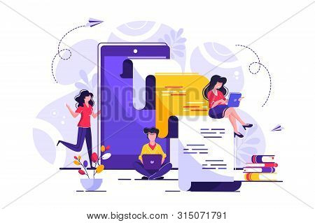 Vector Creative Illustration, Online News, Social Networks, Virtual Communication, Information Searc
