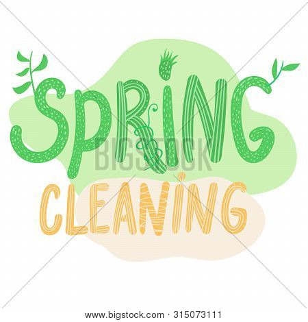 Hand Sketched Spring Cleaning Text Dvertising Poster. Eco Friendly Concept