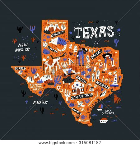 Texas Orange Map Flat Hand Drawn Vector Illustration. Western American State Infographic Doodle Draw