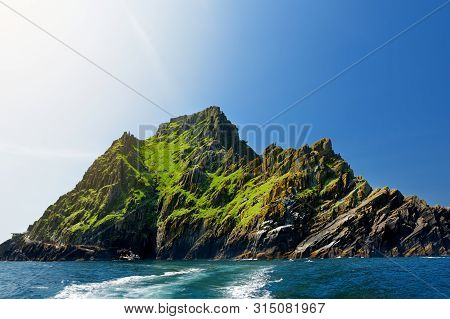 Skellig Michael Or Great Skellig, Home To The Ruined Remains Of A Christian Monastery. Inhabited By