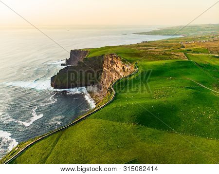 World Famous Cliffs Of Moher, One Of The Most Popular Tourist Destinations In Ireland. Aerial View O
