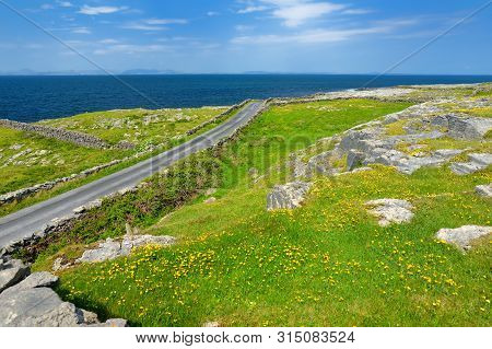 Inishmore Or Inis Mor, The Largest Of The Aran Islands In Galway Bay, Ireland. Famous For Its Irish