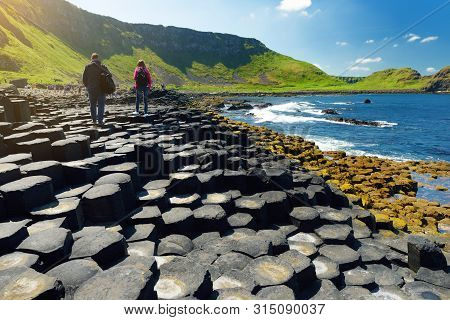 Giants Causeway, An Area Of Hexagonal Basalt Stones, County Antrim, Northern Ireland. Famous Tourist