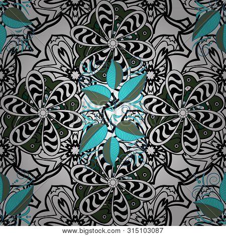 Palm Leaf Pattern On White, Blue And Black Colors. Raster Illustration. Seamless Raster Illustration