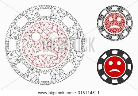 Mesh Pity Casino Chip Model With Triangle Mosaic Icon. Wire Carcass Polygonal Mesh Of Pity Casino Ch