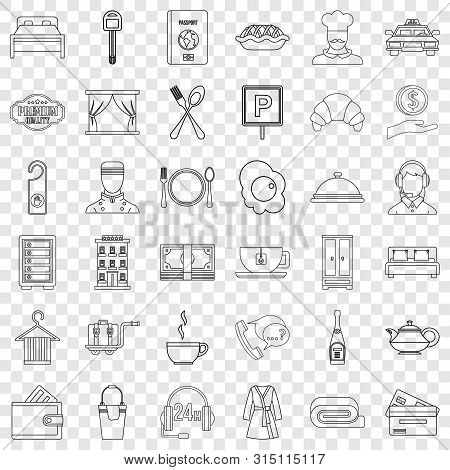 Hotel Service Icons Set. Outline Style Of 36 Hotel Service Vector Icons For Web For Any Design