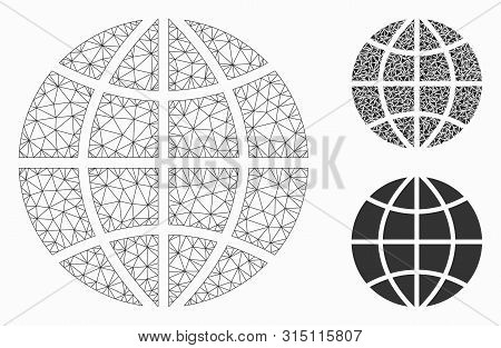 Mesh Planet Globe Model With Triangle Mosaic Icon. Wire Carcass Polygonal Mesh Of Planet Globe. Vect