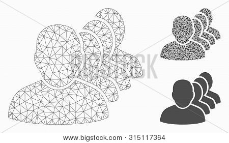 Mesh People Squad Model With Triangle Mosaic Icon. Wire Frame Polygonal Mesh Of People Squad. Vector